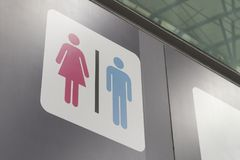 Bathroom symbol male female ,female pink male blue royalty free stock photo