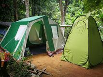Bathroom tents for camper wear or change clothes outdoor stock images