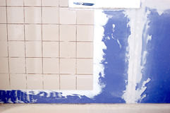 Bathroom tile and drywall. Remodeling project Royalty Free Stock Image