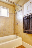 Bathroom with tile wall trim Royalty Free Stock Images