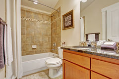 Bathroom with tile wall trim Royalty Free Stock Image