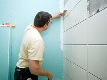 Bathroom tiles renovation Royalty Free Stock Photo