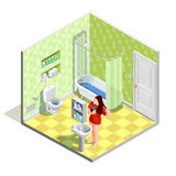 Bathroom Tinker Isometric Composition. Hygiene icons isometric composition with realistic bathroom interior sanitary fitments and female character drying her Royalty Free Stock Images