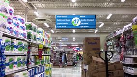 Bathroom tissue and light bulbs corridor inside Save on Foods. It is a regional chain of supermarkets located in British Columbia, Canada stock video footage