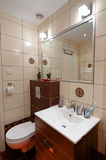 Bathroom toilet corner in vertical view Stock Photos