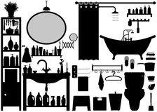 Bathroom Toilet Design Set Vector. A set of bathroom tools and equipments Royalty Free Stock Photos