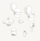 Bathroom and toilet equipment accessories Stock Photos