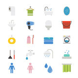 Bathroom and Toilet Flat Icons color Stock Image
