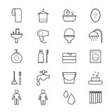 Bathroom and Toilet Icons Line Royalty Free Stock Photography