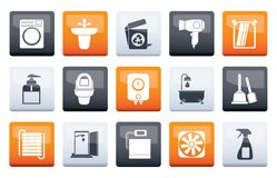 Bathroom and toilet objects and icons over color background stock illustration