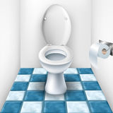 Bathroom with toilet and tile pattern Royalty Free Stock Image