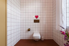 Bathroom with toilet and tiles clear Royalty Free Stock Images