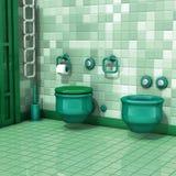 Bathroom with toilet tiles Royalty Free Stock Photos