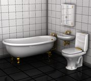 Bathroom with toilet and washbasin. Stock Image
