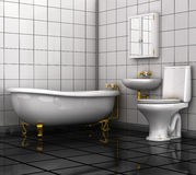 Bathroom with toilet and washbasin. Royalty Free Stock Photo