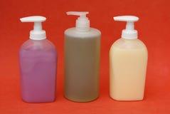 Bathroom toiletries. liquid hand soap. body wash Stock Photo