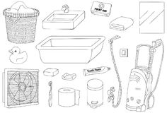 Bathroom Tools and Equipment Vector Outline Illustration. For many purpose such as book illustration, coloring book, etc. EPS 10 file format royalty free illustration