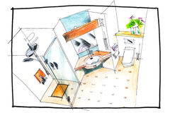 Bathroom top view drawing Stock Photos