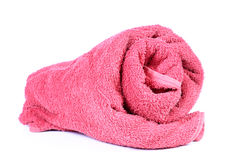Bathroom towel. Beautiful shot of bathroom towel on white background Stock Photography
