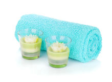 Bathroom towel and candles Royalty Free Stock Photography
