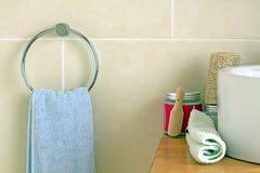 Bathroom Towel and Salt Stock Photo