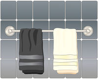 Bathroom towels. An illustration of black and white bathroom towels on a metallic towel rail with gray ceramic tiles stock illustration
