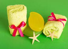 Bathroom towels and soap. On green Royalty Free Stock Image