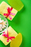 Bathroom towels and soap. On green Royalty Free Stock Photography