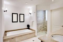 Bathroom with Tub and Shower. Wide view of bathroom with bath and shower Stock Photography