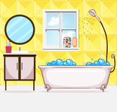 Bathroom with tub and shower stock illustration