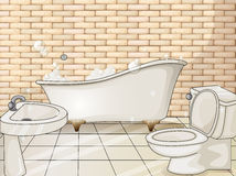 Bathroom with tub and toilet. Illustration royalty free illustration