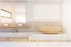 Bathroom with two mirrors and poster, toned Royalty Free Stock Images