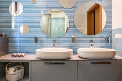 Bathroom with two sinks Stock Photos