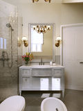 Bathroom vanities and sink consoles in classic style. Royalty Free Stock Photo
