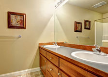 Bathroom vanity cabinet with two sinks and mirror Stock Photos