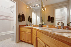 Bathroom vanity cabinet with two sinks and mirror Royalty Free Stock Images