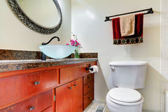 Bathroom vanity cabinet with vessel sink Stock Photo