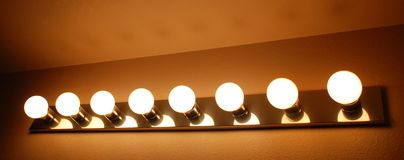 Bathroom Vanity Lighting. Bathroom Vanity Light Fixture with shades Royalty Free Stock Photo