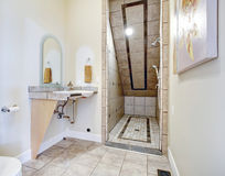Bathroom with vaulted ceiling shower area Stock Images