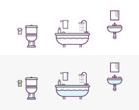 Bathroom Vector Icons Set in the Style of Line Art. Royalty Free Stock Photo