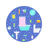Bathroom vector. Bathroom interior and accessories. Concept vector illustration in a circle Royalty Free Stock Image