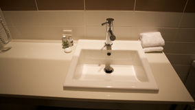 Bathroom with washing basin, home hotel related. Bathroom with washing basin, house or hotel room related Stock Photography