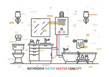 Bathroom water heater geyser vector illustration Stock Photography