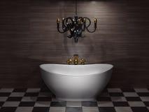 Bathroom. White bathtub in the  bathroom. 3d illustration Royalty Free Stock Photography