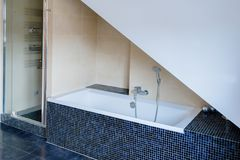 Bathroom with white bathtub and shower. Modern bathroom with white bathtub and shower Stock Image