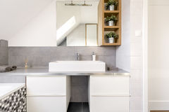 Bathroom with white cabinets royalty free stock images