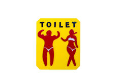 Bathroom white door signs symbol yellow background. Red young wearing bra Royalty Free Stock Photo