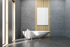 Bathroom with white tub and poster Stock Images