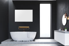 Bathroom with windows and poster Stock Photo