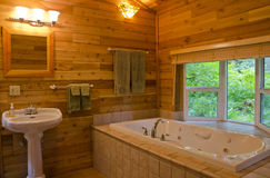 Bathroom in a Wood Cabin Stock Photos